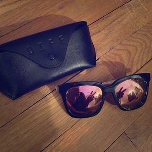 Tortoise pink mirror DIFF eyewear sunglasses